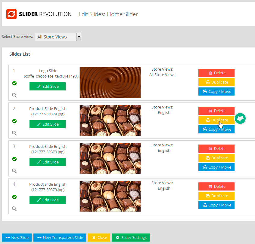 Multi Language Revolution Slider for Magento - Clone Slides