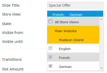 Multi Language Revolution Slider for Magento - German and French