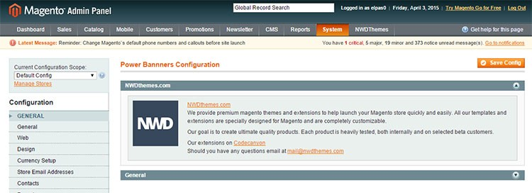 Configuration element with text in magento