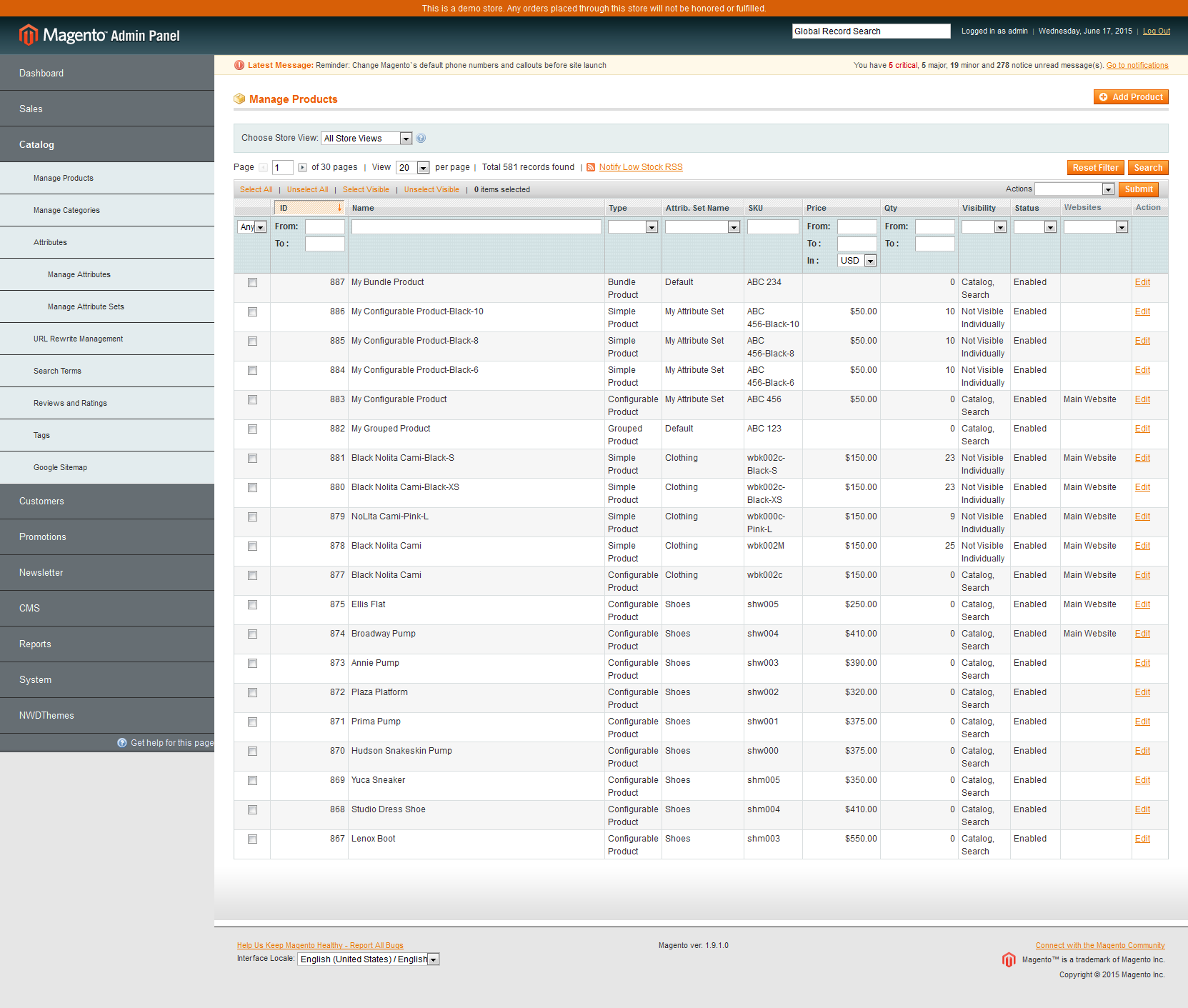 Magento Admin Vertical Navigation Menu
