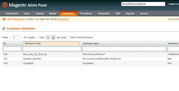 Magento Customer Attributes Extension