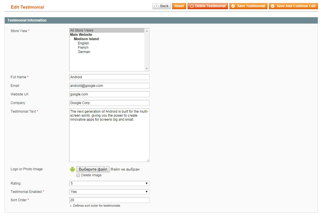 testimonials magento extension edit page