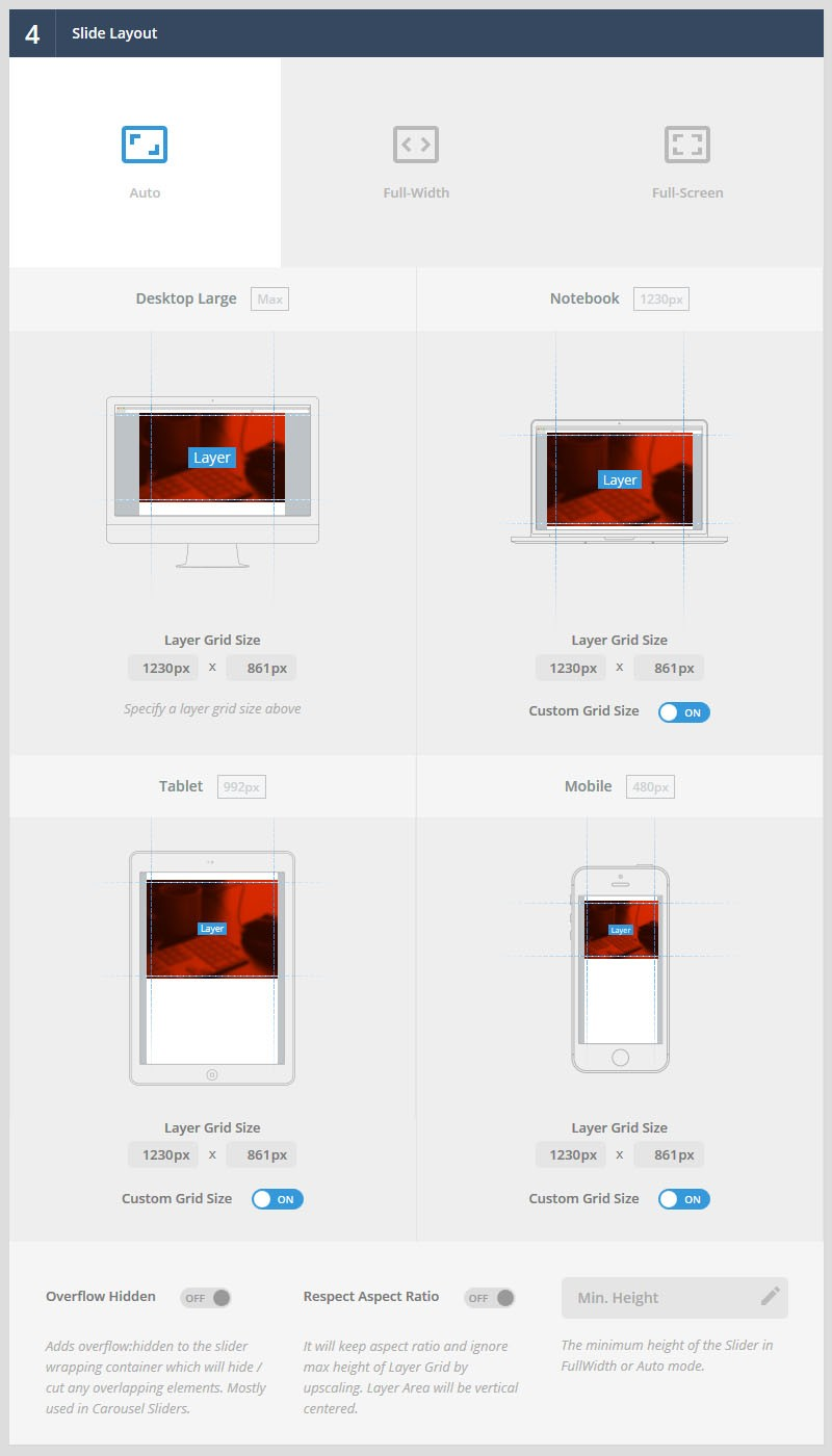 Magento Slider Revolution 5 New Slider Layout Sizes
