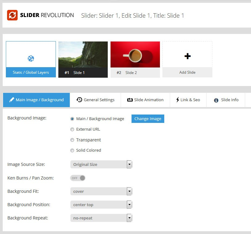 Magento Slider Revolution 5 Slide Settings