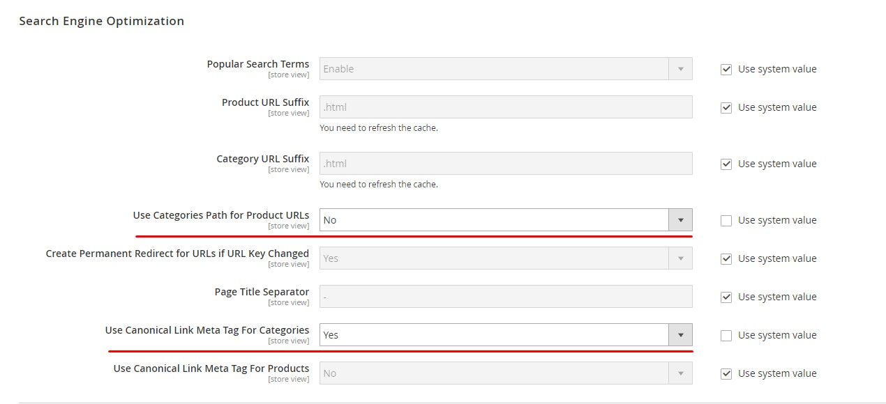 magento 2 disable category path for product url